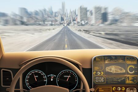 Foto de Modern brown car interior with futuristic screen and blurry road view. Transport and vehicle concept. 3D Rendering - Imagen libre de derechos