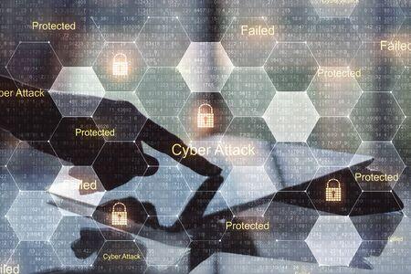 Foto de Computer privacy concept with human hand using digital tablet and digital screen with secutity words in cells.Double exposure. - Imagen libre de derechos