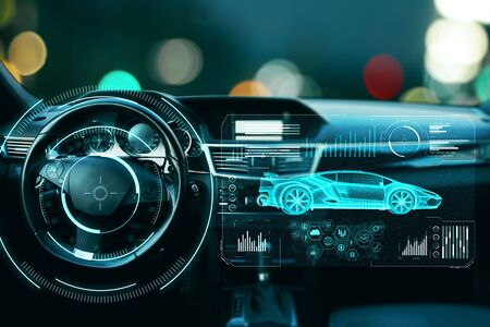Photo pour Car with abstract digital hologram on bokeh background. Automation and transport concept. Double exposure - image libre de droit
