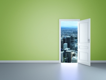 Photo pour room with an open door  to city - image libre de droit