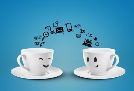 Foto de two cups social media concept  isolated - Imagen libre de derechos