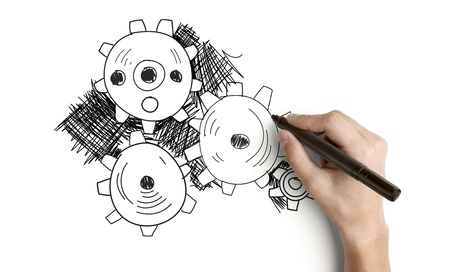 hand drawing abstract gears on a white background