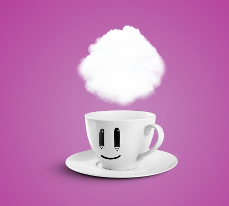 happy cup with cloud on a pink background
