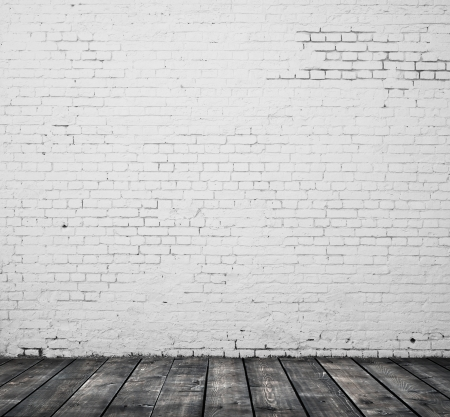 Photo pour brick wall and wooden floor - image libre de droit