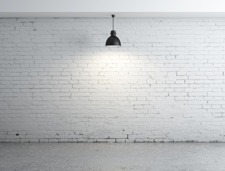 Photo pour white brick room and lamps - image libre de droit