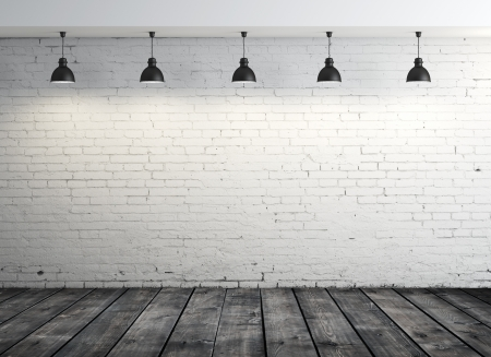 brick room with wood floor and five lamps