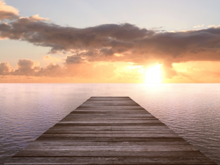 Photo for wooden pier at a sunset - Royalty Free Image