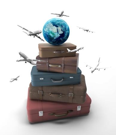 Foto de travel bags with earth and airplanes - Imagen libre de derechos