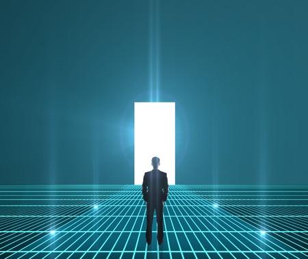 Photo pour businessman looking at interface world hole - image libre de droit