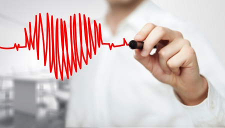 Photo for High resolution man drawing chart heartbeat - Royalty Free Image