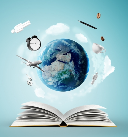 Photo for open book and earth, education concept - Royalty Free Image