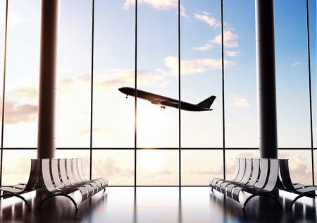 futuristic airport and big airliner in window