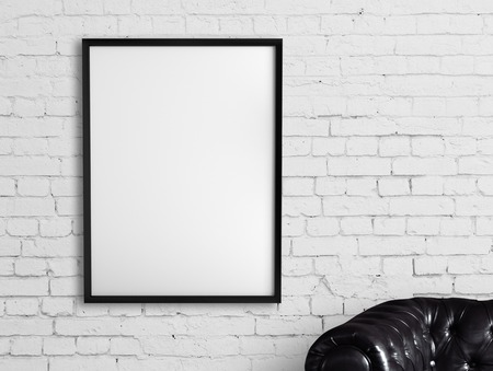 Photo pour white frame hanging on a brick wall - image libre de droit