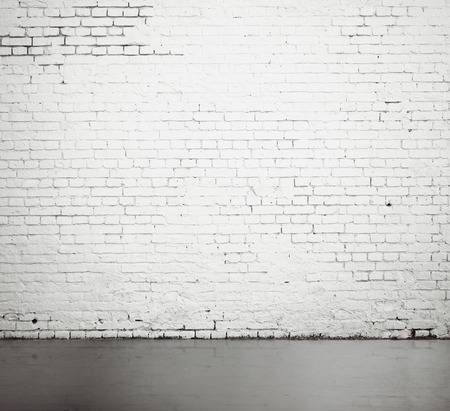 Foto de high resolution white brick wall and floor - Imagen libre de derechos