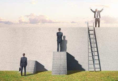 Foto de man climbing on ladder on wall - Imagen libre de derechos