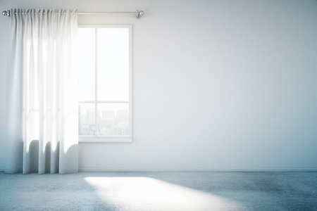 Foto de Blank white wall with window and concrete floor, mock up, 3d render - Imagen libre de derechos