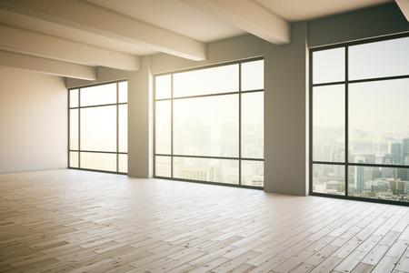 Foto de Empty light  loft interior with wooden floor, three panoramic windows and sunlight. 3D Render - Imagen libre de derechos