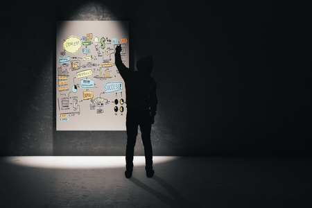 Research concept with man silhouette on the right drawing business charts on illuminated board. 3D Render