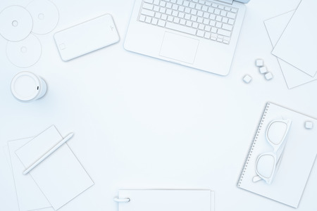 Photo pour Blank spot on white table full of office tools. Mock up, 3D Rendering - image libre de droit