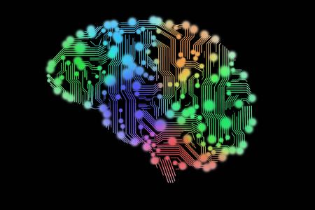 Photo pour colored circuit board in form of human brain - image libre de droit