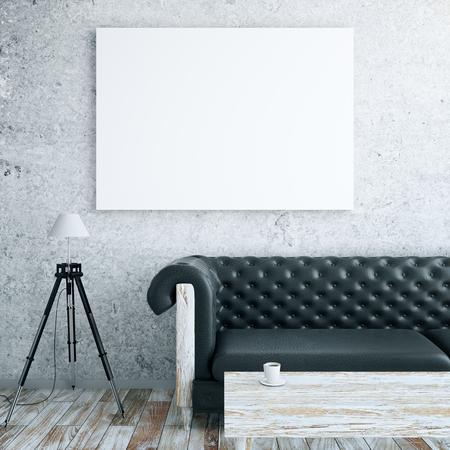 Foto de Front view of interior with blank billboard, leather couch, floor lamp and wooden coffee table. Mock up, 3D Rendering - Imagen libre de derechos
