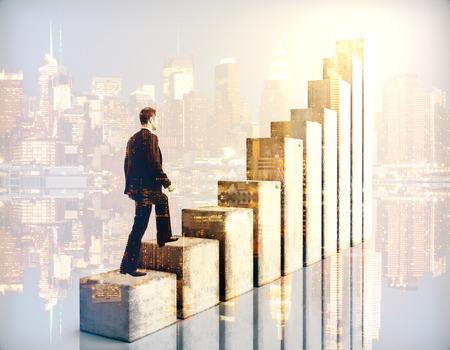 Foto de Side view of businessman climbing chart bar ladder on city background. Double exposure. Success concept - Imagen libre de derechos