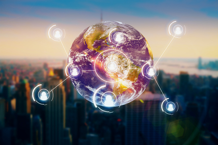 Photo pour Abstract globe with people icons on city background. Recruiting concept. Elements of this image furnished by NASA - image libre de droit