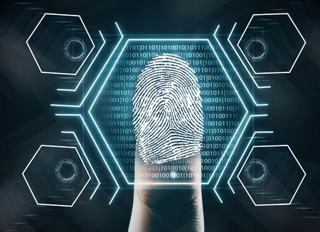 Photo pour Futuristic fingerprint scanning device biometric security system. Innovation concept. 3D Rendering - image libre de droit