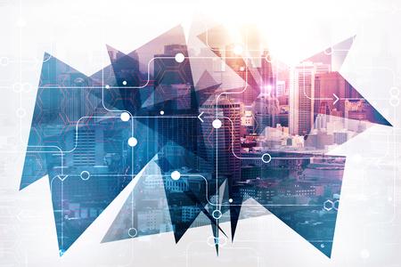 Foto de Abstract circuit city background. Urban technology concept. Double exposure  - Imagen libre de derechos