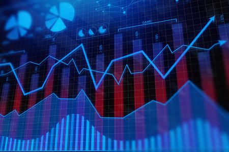 Foto de Creative colorful digital business chart backdrop. Investment and finance concept. 3D Rendering  - Imagen libre de derechos