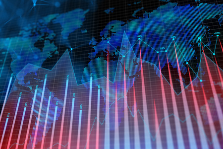 Photo pour Abstract glowing forex background with map. Global business, trade and growth concept. 3D Rendering  - image libre de droit