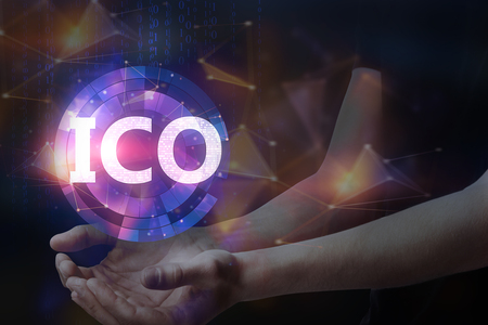 Photo for Hands holding blurry glowing ICO hologram on dark background. Initial coin offering concept. Double exposure  - Royalty Free Image