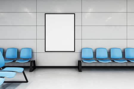 Photo pour mockup white poster on the wall in modern waiting hall with blue alignment chairs. 3d rendering - image libre de droit