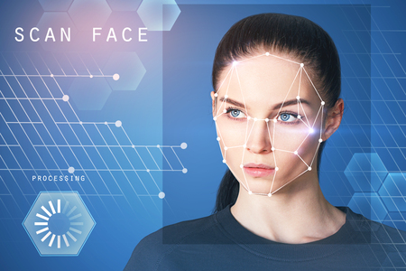 Foto de Portrait of attractive young european businesswoman with facial recognition system. ID and data concept. Double exposure - Imagen libre de derechos