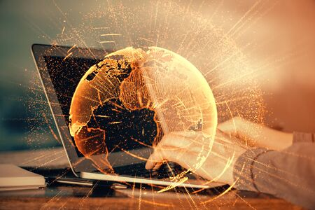 Foto de Social network theme hologram with businessman working on computer on background. Concept of world wide web. Multi exposure. - Imagen libre de derechos