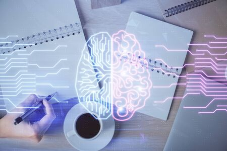 Photo for Multi exposure of womans writing hand on background with brain hologram. Concept of brainstorming. - Royalty Free Image
