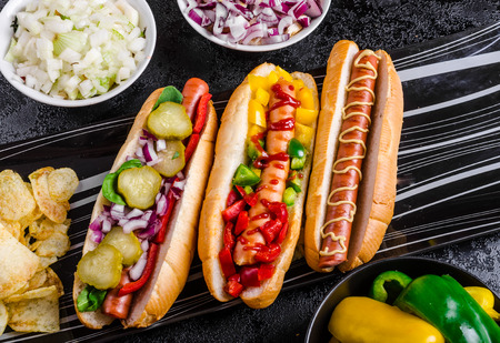 Photo for All beef dogs, variantion of hot dogs, onions, beef, garlic, chips, paprika, chilli, mustard, ketchup - Royalty Free Image