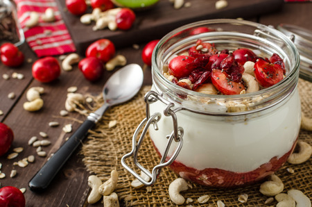 Photo for Domestic cherry yogurt with wonder chia seeds and granula - Royalty Free Image