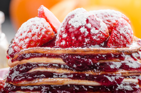 Photo for Pancakes strawberry, sugar and jam - Royalty Free Image