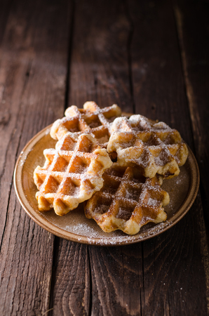 Photo for Sugar waffles product photo, food photography, food stock, place for advertisment - Royalty Free Image