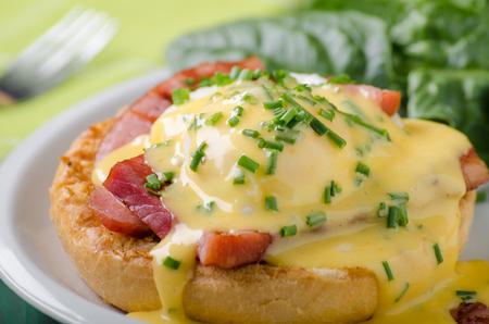 Photo for Egg benedict delish food, crispy bacon, food stock, food photography - Royalty Free Image