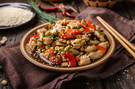 Photo for Delish food, rice, fresh red pepper and chili, food photography - Royalty Free Image