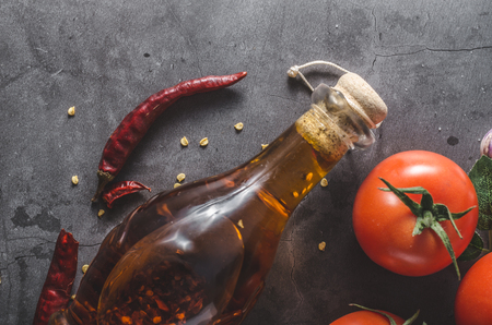 Foto de Delish olive oil with chilli inside, fresh and spicy - Imagen libre de derechos