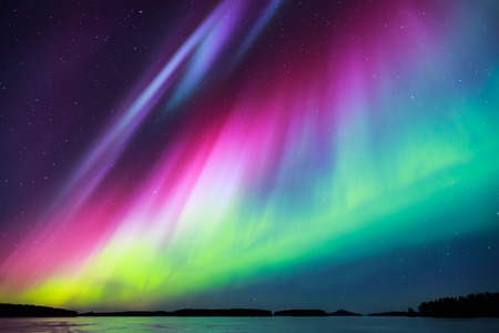 Photo pour Colorful Northern lights Aurora borealis in the sky - image libre de droit