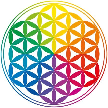 Illustration pour Flower Of Life Rainbow Colors - image libre de droit