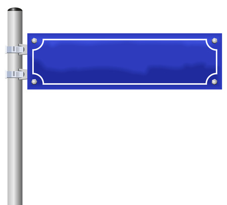 Illustration pour Blank street sign, fixed on a pole - an individual street name can be labeled  - image libre de droit