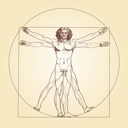 Illustration pour Illustration of the Vitruvian Man, based on the records of Leonardo da Vinci and the architect Vitruvius  - image libre de droit