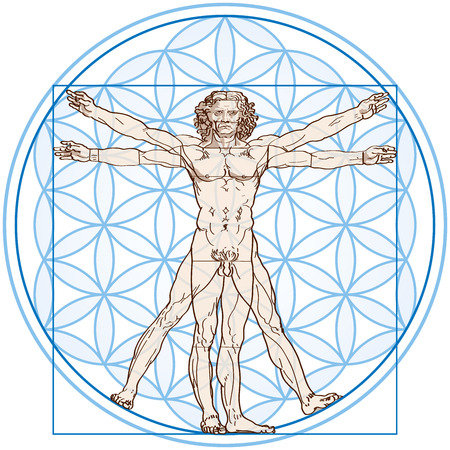 Illustration pour Vitruvian Man fits in the Flower Of Life  Vector illustration on white background using transparencies and gradients  - image libre de droit