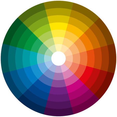 Illustration pour Color Circle Light Dark - Twelve basic colors in a circle, graduated from the brightest to the darkest gradation  - image libre de droit