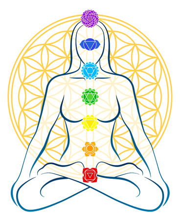 Illustration pour Meditating woman with the seven main chakras, which match perfectly onto the junctions of the Flower-of-Life-Symbol in the background  - image libre de droit